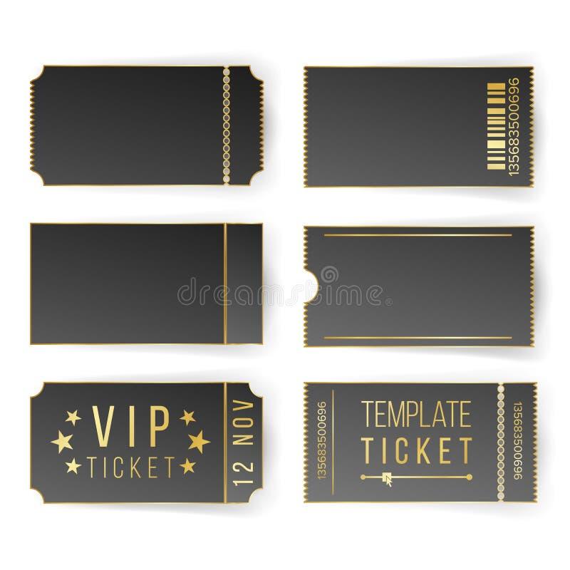 Vip-Karten-Schablonen-Vektor Leere schwarze Karten und Kupon-freier Raum Theater, Kino etikettiert Kupons Getrennt vektor abbildung