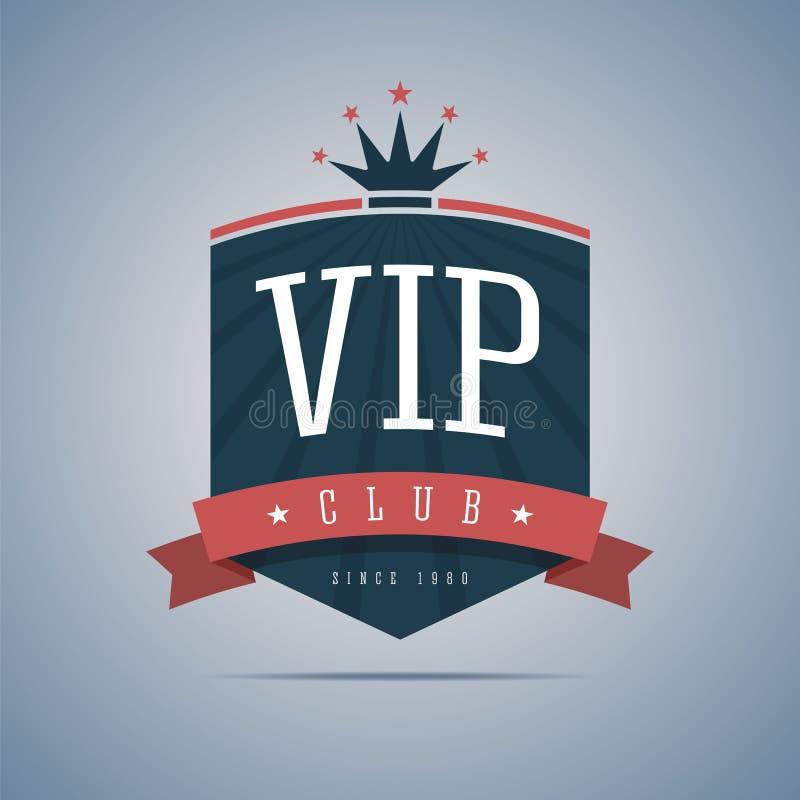 Vip-klubbatecken med bandet, kronan och stjärnor vektor illustrationer
