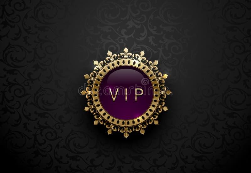 Vip-lilaetikett med den runda guld- cirkelramkronan på svart blom- bakgrund Mörk glansig kunglig högvärdig mall Vektorlyx stock illustrationer
