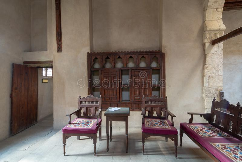 VIP Lounge at Ottoman era historic House of Egyptian Architecture, Darb El Labbana district, Cairo, Egypt. VIP Lounge at Ottoman era historic House of Egyptian royalty free stock images