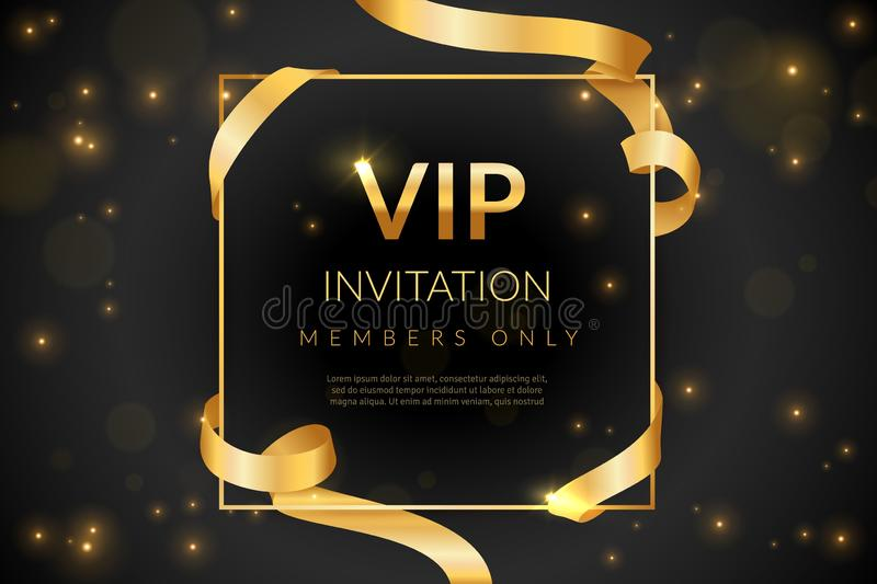 VIP. Luxury gift card, vip invitation coupon, certificate with gold text, exclusive and elegant logo membership in. VIP. Luxury gift card, vip invitation coupon stock illustration