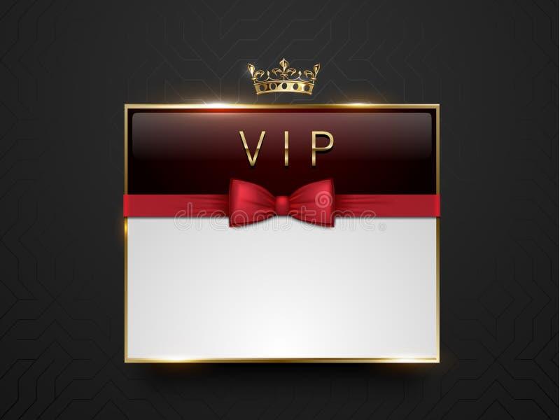 Vip-mörker - röd glass etikett med den guld- ramen, kronan och den röda flugan på svart siden- geometrisk bakgrund Vitt textställ royaltyfri illustrationer