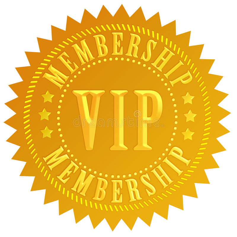 Vip membership. Golden label isolated on white background royalty free illustration