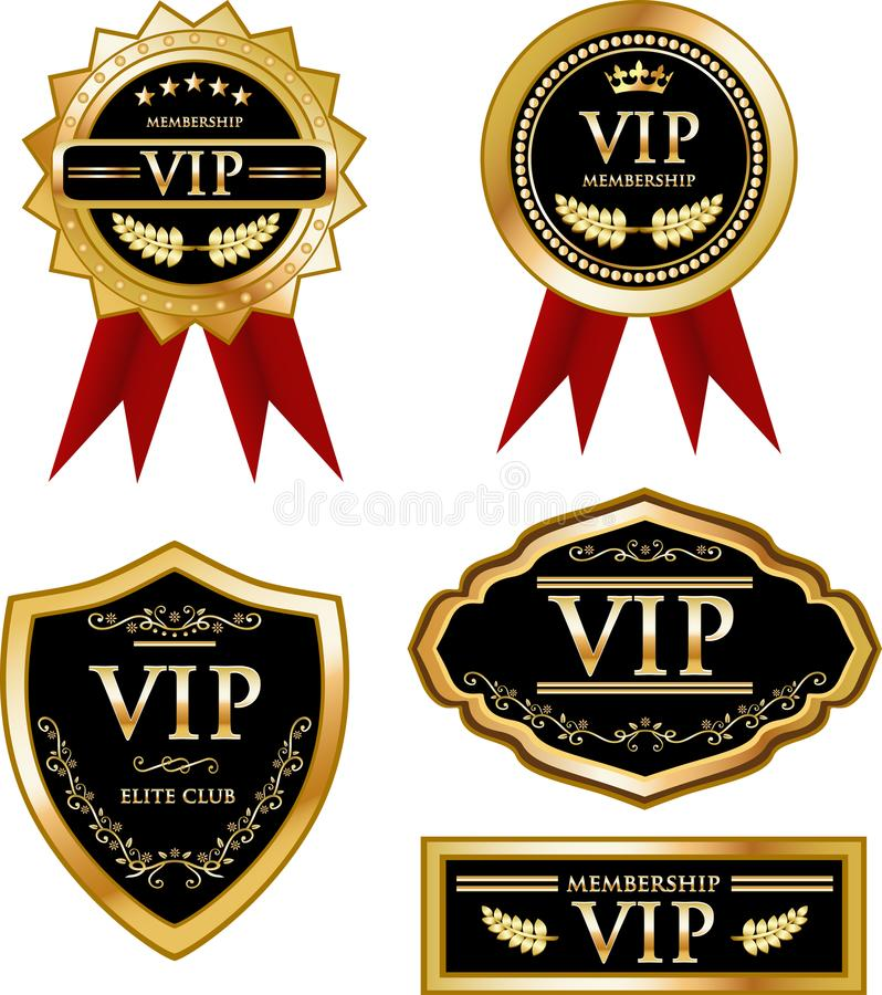 VIP Membership Gold Medal Label Collection. VIP membership vintage gold medal label collection with red ribbons, laurel wreaths, crowns and ornaments royalty free illustration