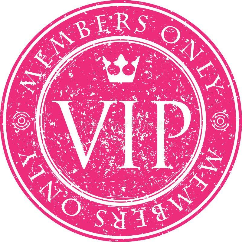 VIP Membros somente Carimbo de borracha vermelho do estilo do grunge do vetor com CTOC ilustração royalty free
