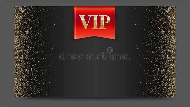 VIP o bandera roja de lujo en el contexto negro de la pendiente con de oro, brillante, modelo metálico del polvo del brillo Image libre illustration