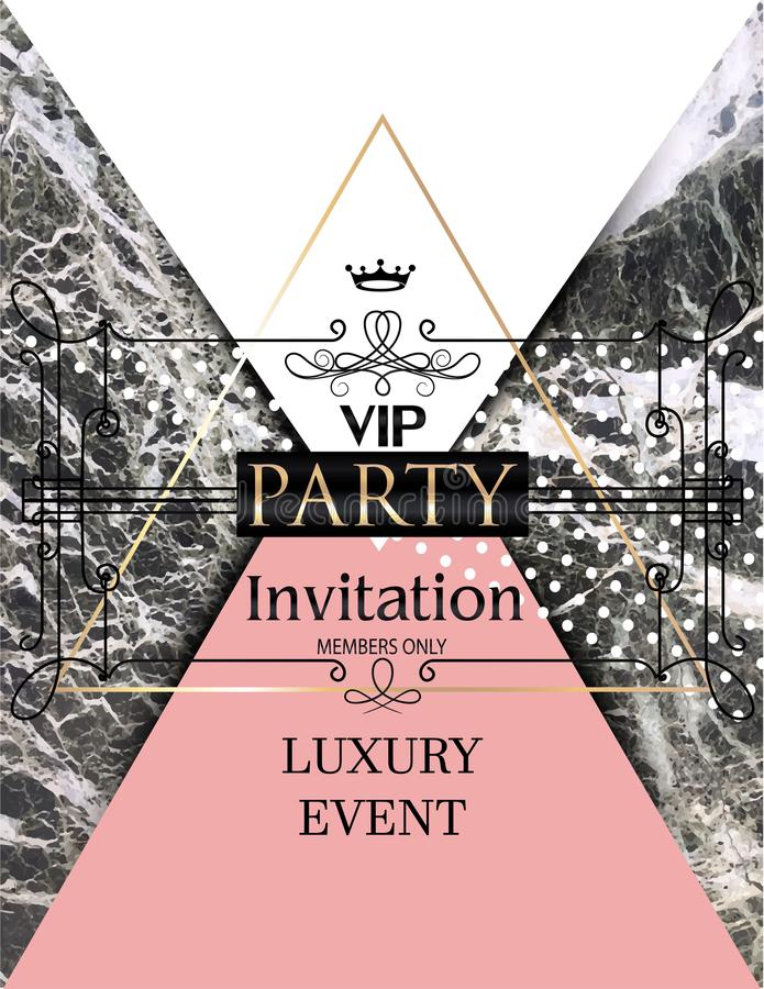 Vip Party Invitation Card With Marble Background. Stock Vector ...