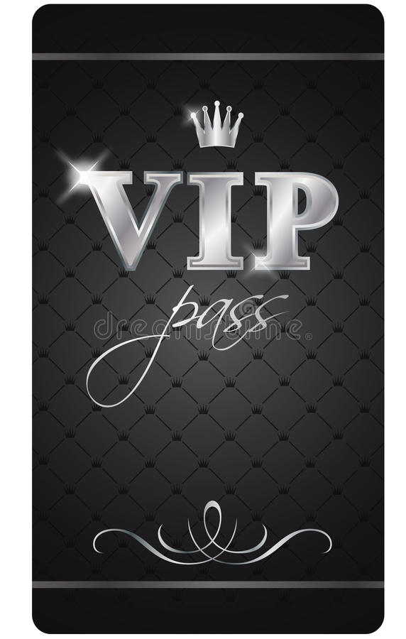 Vip pass. Black VIP pass with silver decor and crown isolated on the white background royalty free illustration