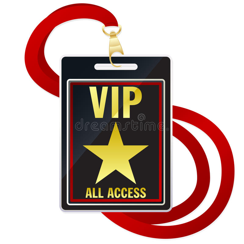 VIP Pass. An illustration of a black, gold and red VIP pass attached to a lanyard vector illustration