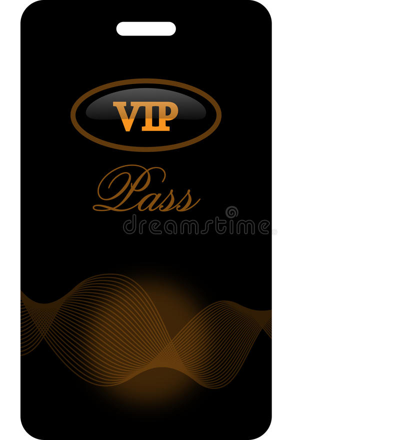 VIP pass. Black-orange VIP pass isolated on the white background stock illustration
