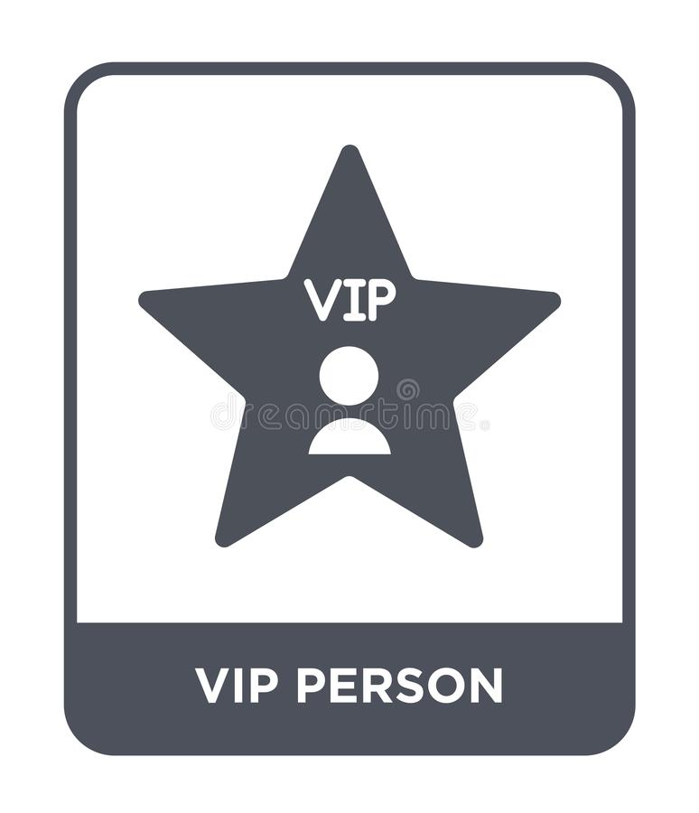Vip person icon in trendy design style. vip person icon isolated on white background. vip person vector icon simple and modern. Flat symbol for web site, mobile stock illustration