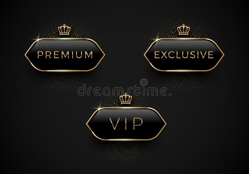 Vip, Premie en Exclusieve zwarte glasetiketten met gouden kroon en kader op een zwarte achtergrond Vectorillustratie, en editable royalty-vrije illustratie