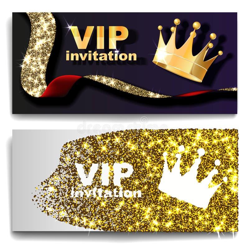 VIP premium invitation cards posters flyers. Black and golden design template set. vector illustration