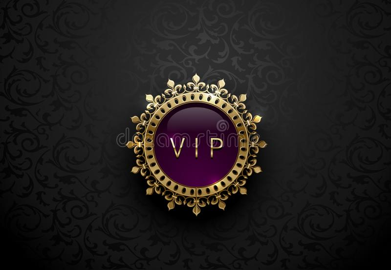 Vip purple label with round golden ring frame crown on black floral background. Dark glossy royal premium template. Vector luxury. Illustration stock illustration