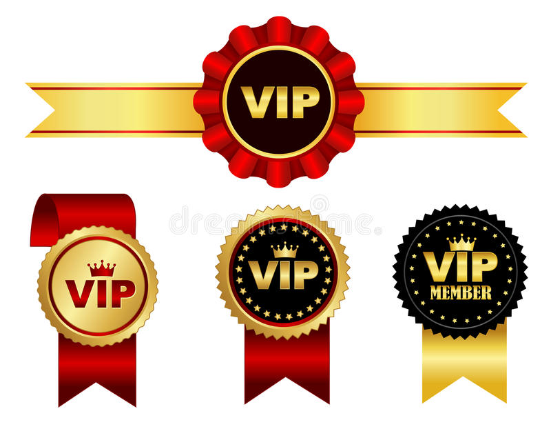 VIP ribbon. Colorful VIP membership ribbon rosette and seal collection isolated on white royalty free illustration