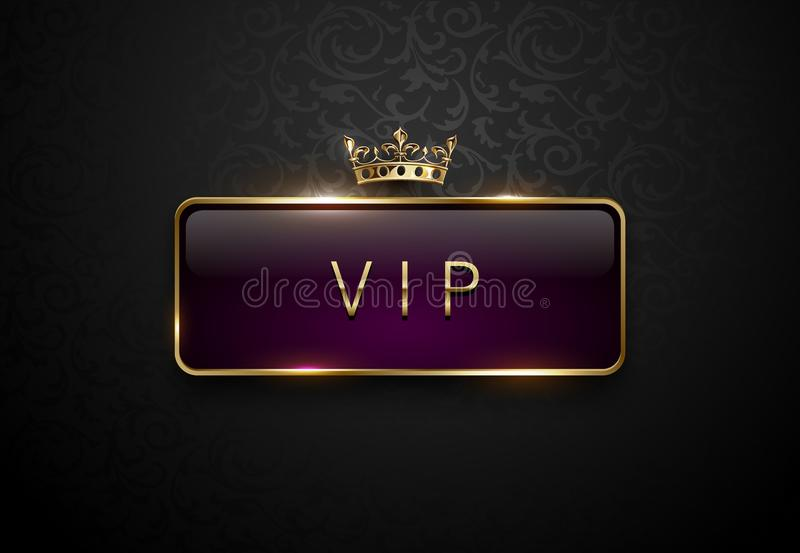 Vip royal purple label with golden frame and crown on black floral pattern background. Dark premium template. Vector illustration. stock illustration