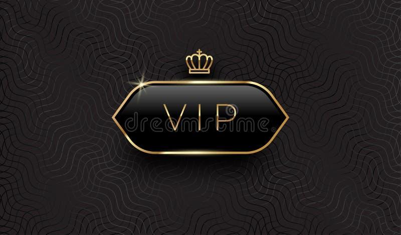 Vip-Schwarzglasaufkleber mit goldener Krone und Rahmen auf einem schwarzen Musterhintergrund Erstklassiges Design Luxusschablonen stock abbildung