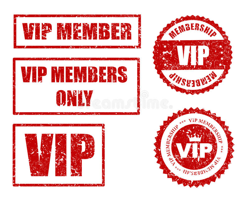 VIP seal. VIP membership grunge stamp / seal collection in red isolated on white background stock illustration