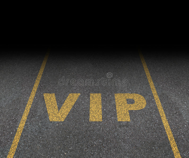 VIP Service. Symbol with a first class reserved parking space for with a sign painted on asphalt as a symbol of exclusive hospitality with the royal treatment vector illustration
