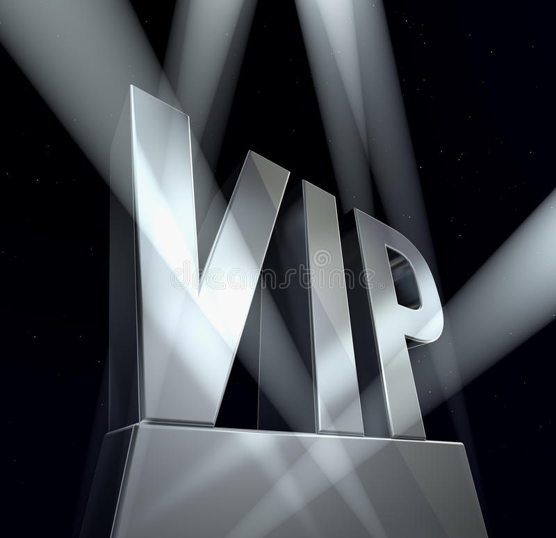 VIP sign. VIP in silver letters on a silver pedestal at a black background royalty free illustration