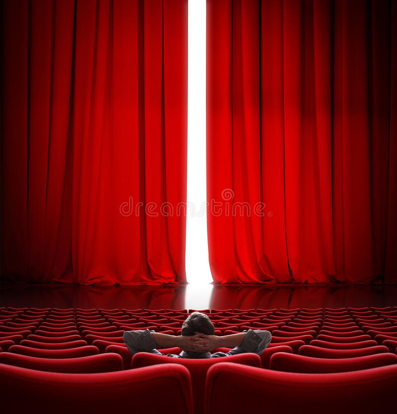 VIP sitting in front of slightly open movie theater red curtain 3d illustration stock photography