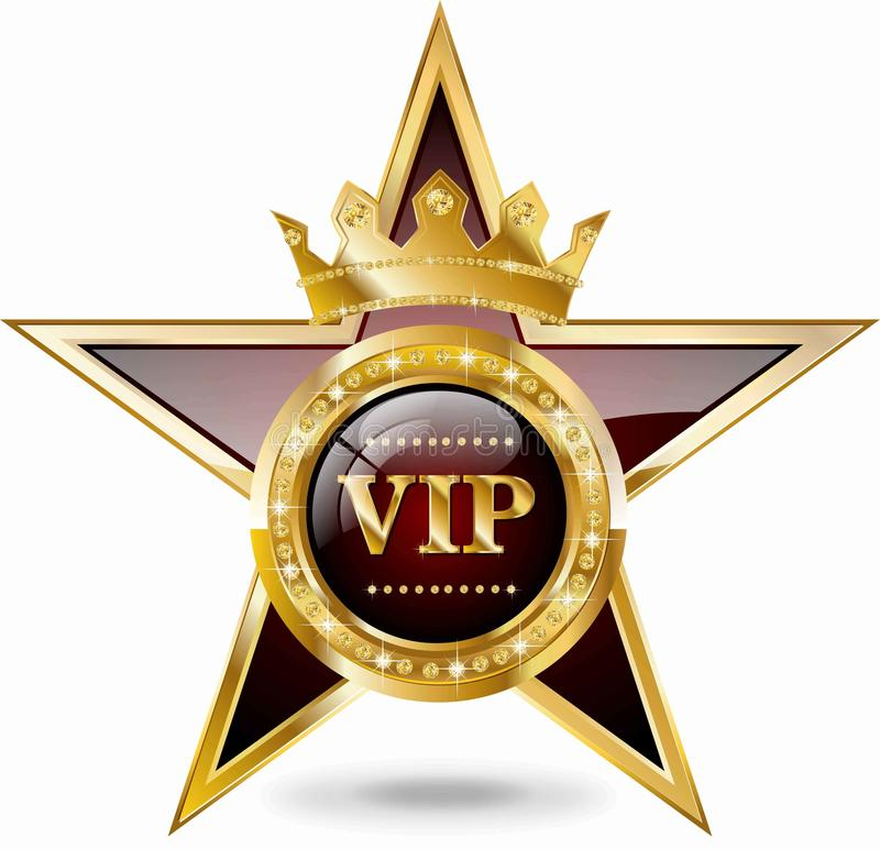 VIP Star. With gold elements and brilliants stock illustration