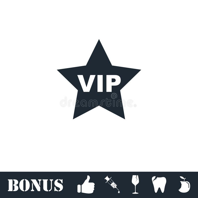 Vip star icon flat royalty free illustration