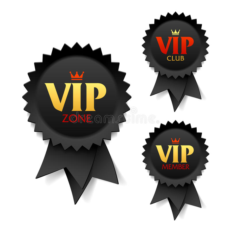 VIP streek, club en lidetiketten royalty-vrije illustratie