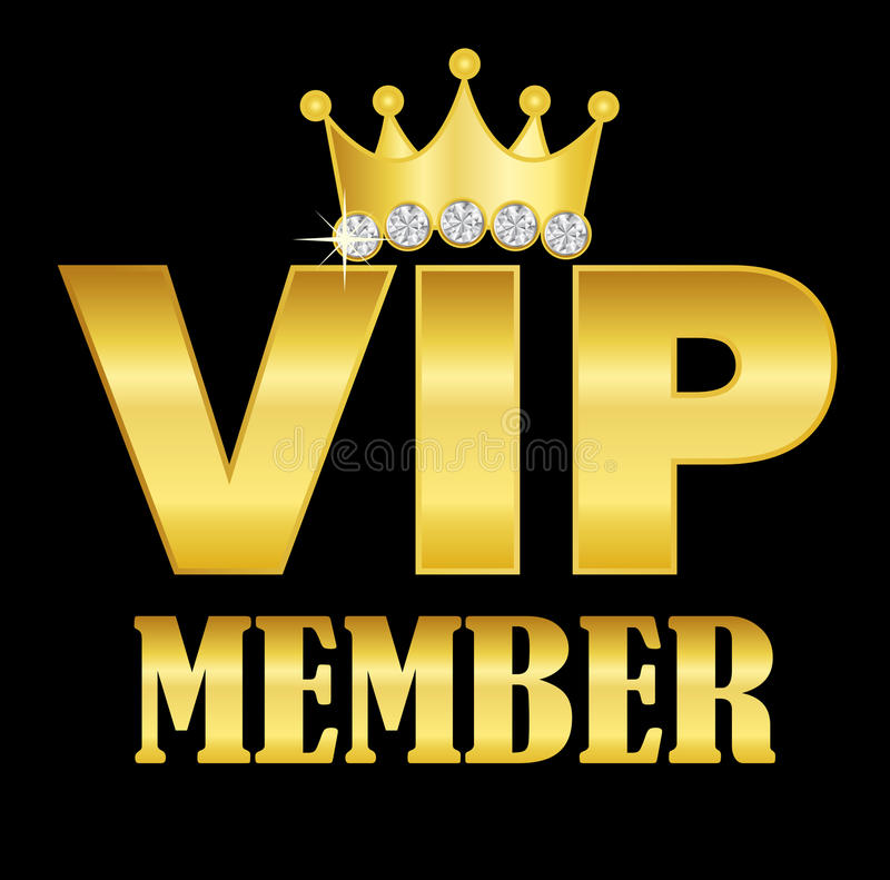 VIP symbol. VIP member golden text with a crown on letter I royalty free illustration