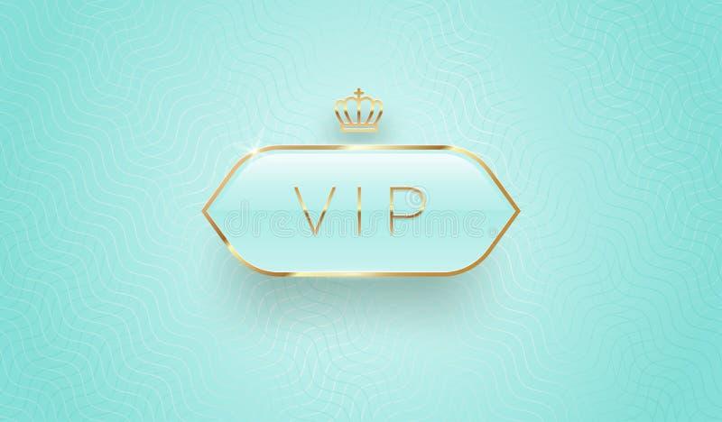 Vip szklana etykietka z złotą koroną i ramą na turkusowym deseniowym tle Premia projekt Luksusowy szablonu projekt ilustracja wektor