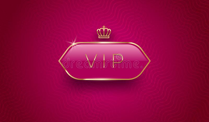 Vip szklana etykietka z złotą koroną i rama na Burgundy kolorze deseniujemy tło Premia projekt Luksusowy szablonu projekt ilustracji