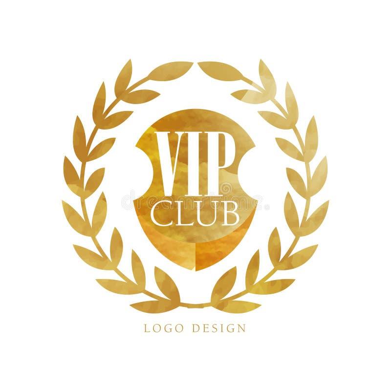 VIP tłuc loga projekt, luksusowa elegancka złota odznaka z laurowym wiankiem dla butika, restauracja, hotel, kurortu wektor ilustracji