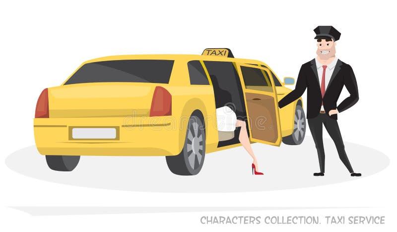 VIP taxi z kierowcą i pasażerem w kreskówce ilustracja wektor