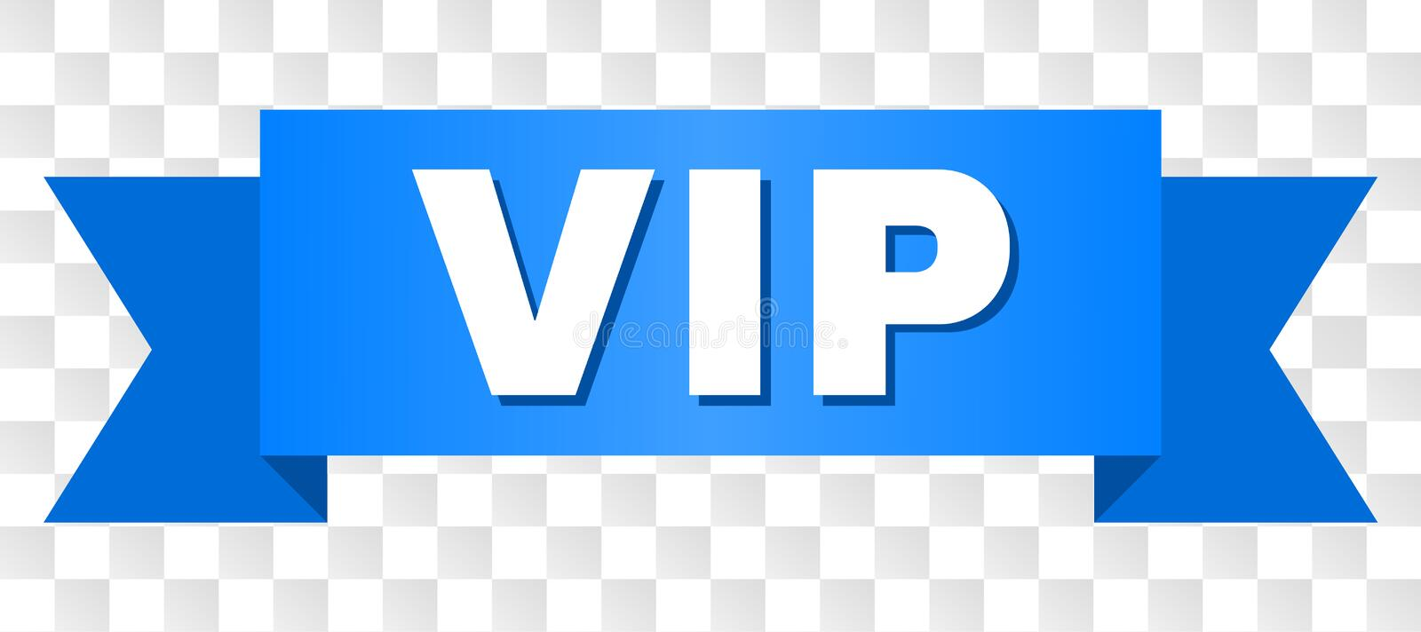Blue Stripe with VIP Caption. VIP text on a ribbon. Designed with white title and blue stripe. Vector banner with VIP tag on a transparent background royalty free illustration