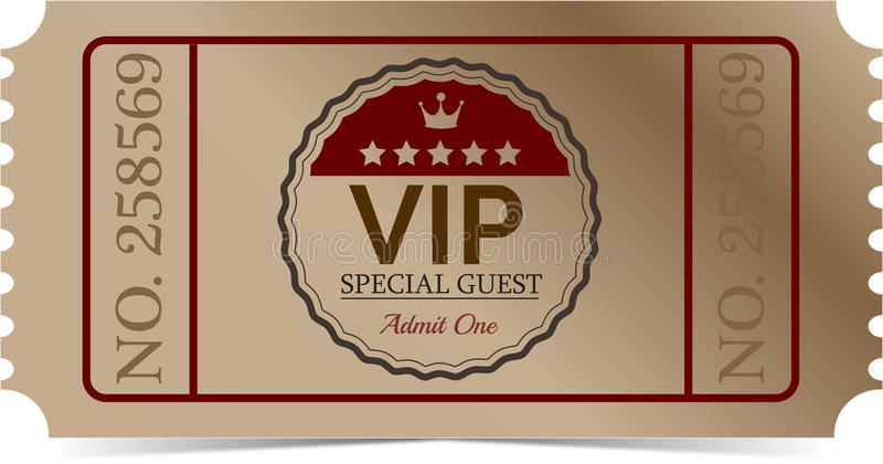 VIP ticket. With text and stars and crown vector illustration