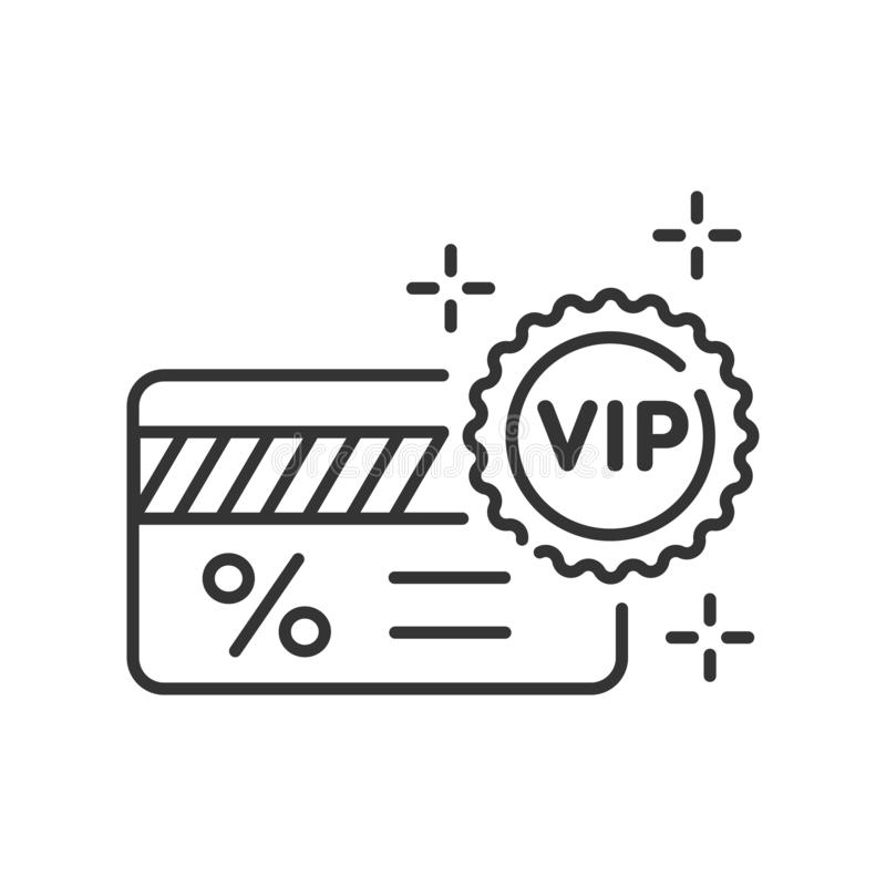 VIP ticket line black icon. Customer privilege web exclusive badge. Premium card for concert, cinema, movie, party, event, dance, royalty free illustration