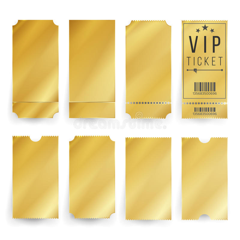 Vip Ticket Template Vector. Empty Golden Tickets And Coupons Blank. Isolated Illustration. royalty free illustration