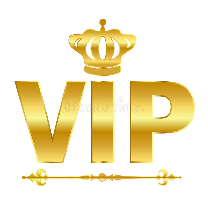 Vip vector symbol. Vip golden vector symbol over white vector illustration