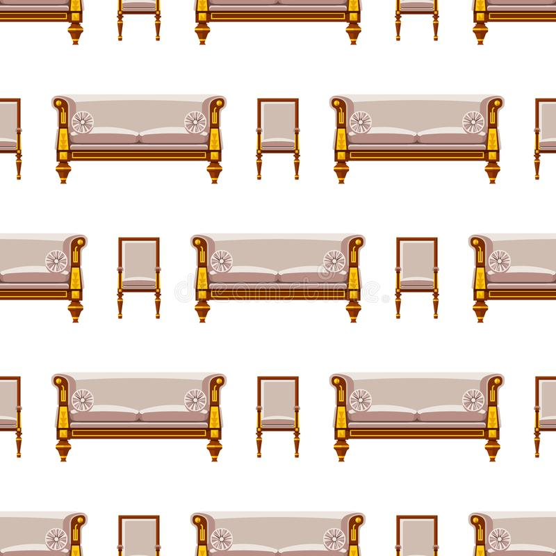 VIP vintage interior furniture rich wealthy house chair room with sofa couch seat seamless pattern background vector royalty free illustration