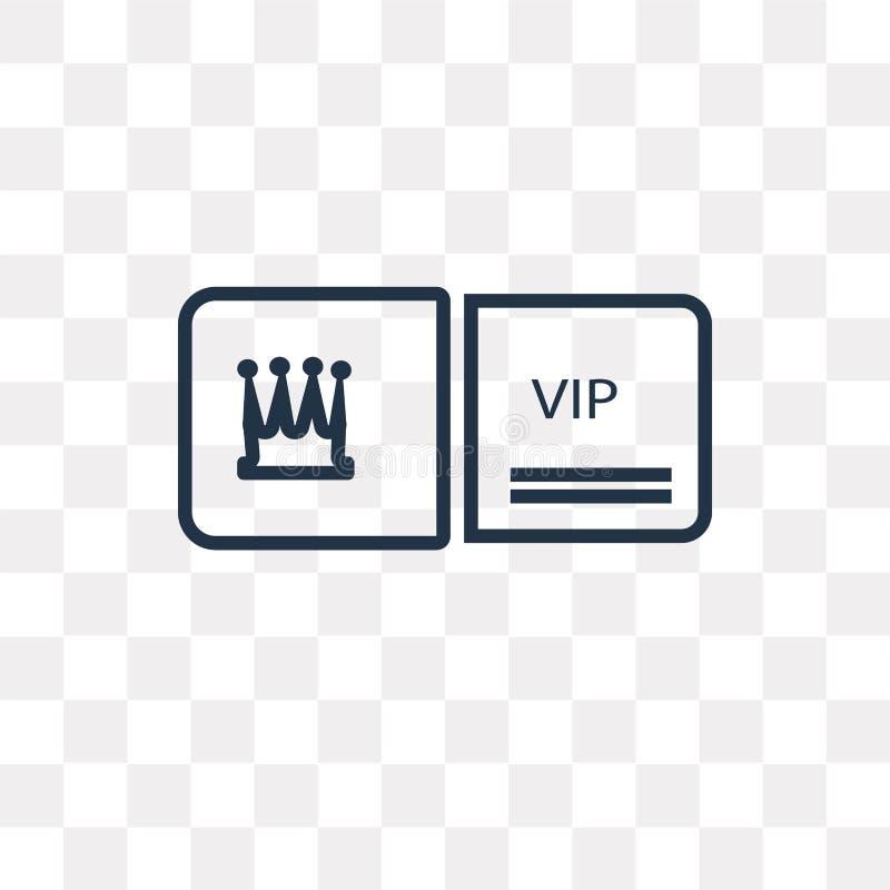 Vip wektorowa ikona odizolowywająca na przejrzystym tle, liniowy Vip t royalty ilustracja