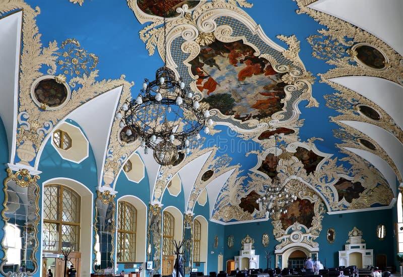 VIP-zaal of een station van Kazansky van het ruimte hoger comfort (vokzal Kazansky)--is één van negen spoorwegterminals in Moskou royalty-vrije stock fotografie