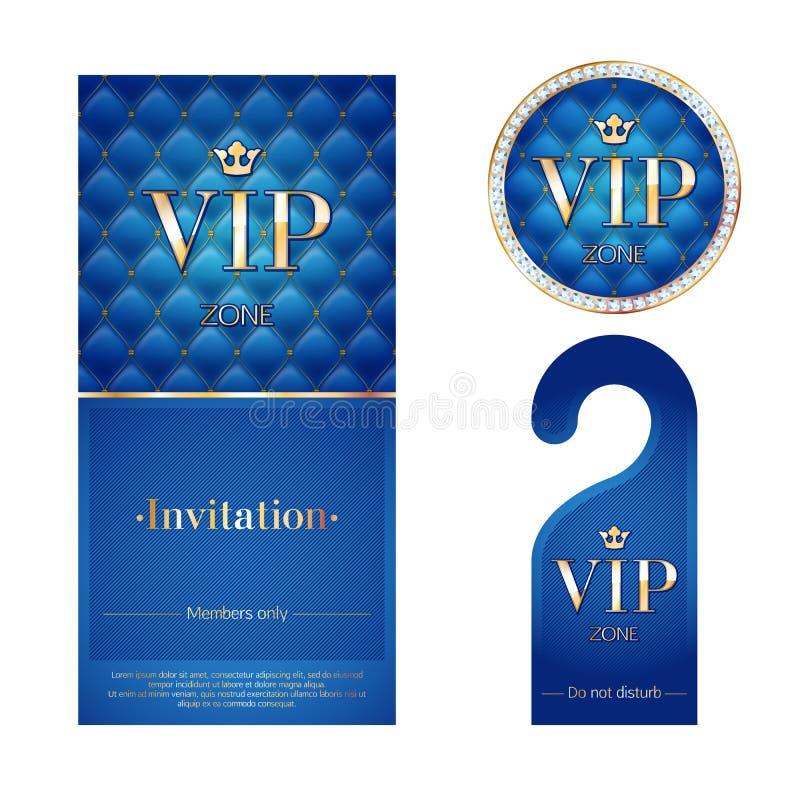 VIP zaproszenia karta, ostrzegawczy wieszak i odznaka, ilustracji