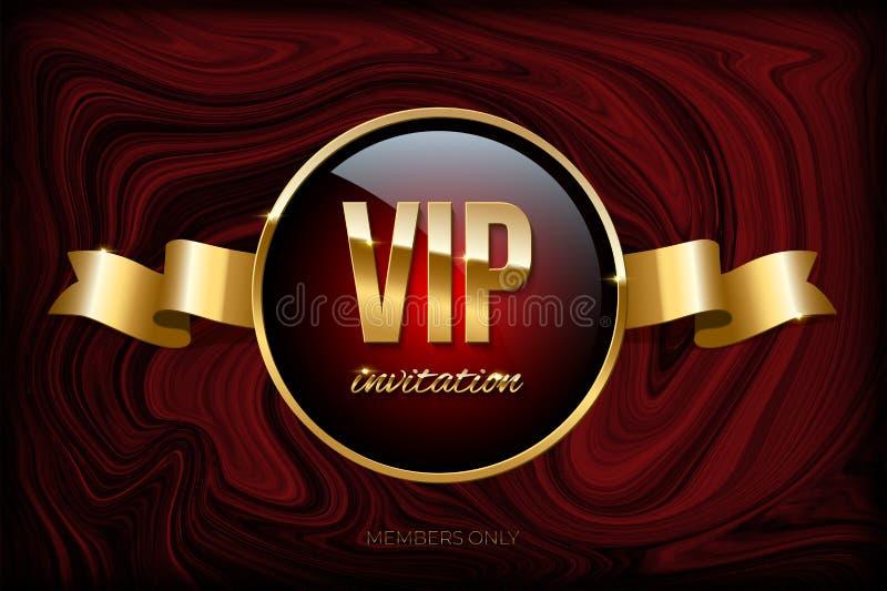 VIP zaproszenia projekta szablon Wektorowy złoty faborek i VIP zaproszenie tekst na zmroku - czerwieni marmurowa tekstura ilustracja wektor