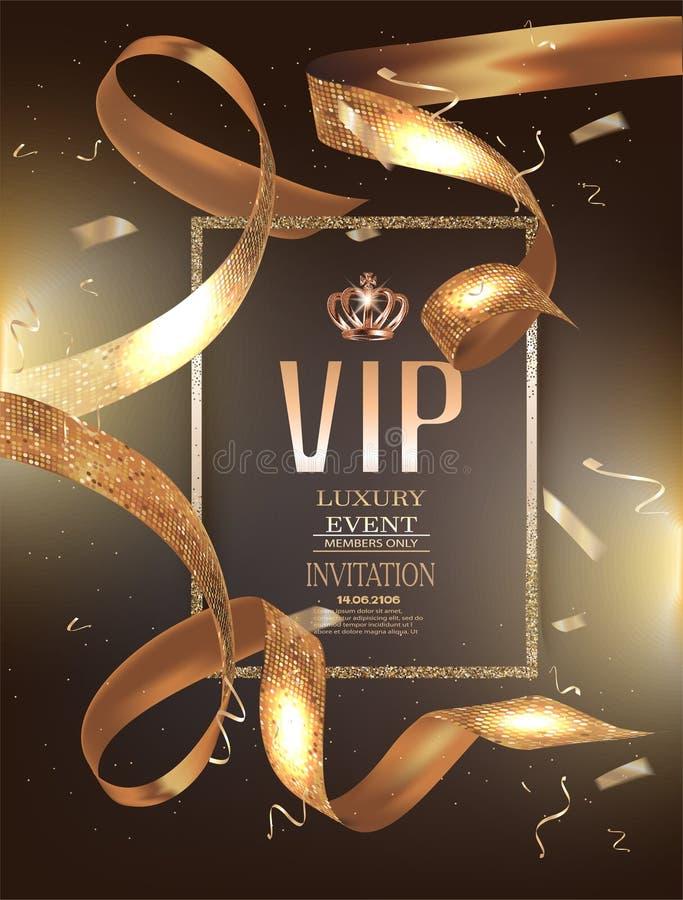 VIP zaproszenia sztandar z kędzierzawymi złotymi faborkami z okrąg ramą i wzorem ilustracja wektor
