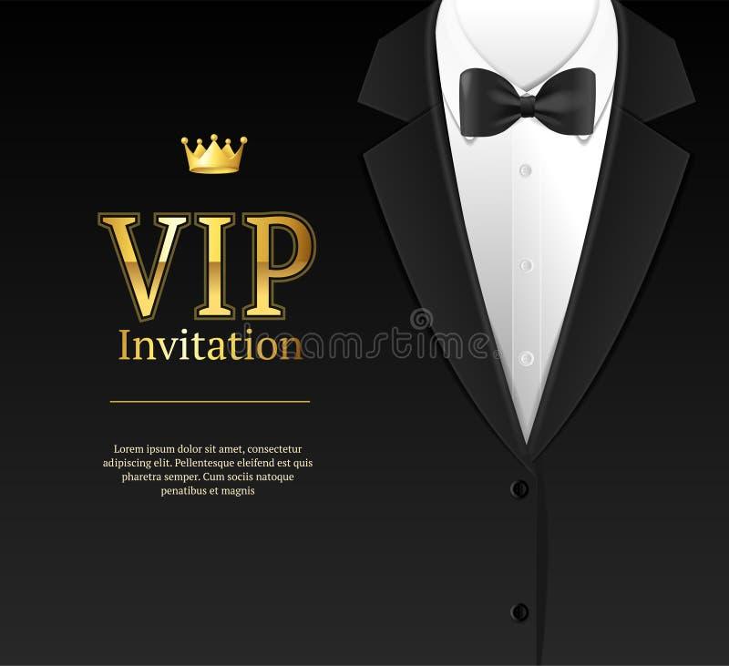 Vip zaproszenie z łęku krawatem wektor royalty ilustracja