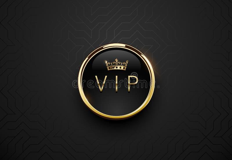 Vip zwart etiket met rond gouden ringskader en kroon op zwarte geometrische achtergrond Donker glanzend premiemalplaatje Vectorlu stock illustratie