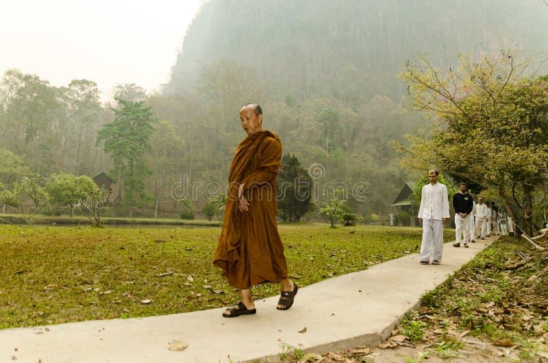Vipassana在一个山修道院里,在市Mechonson附近,在泰国北部 库存图片