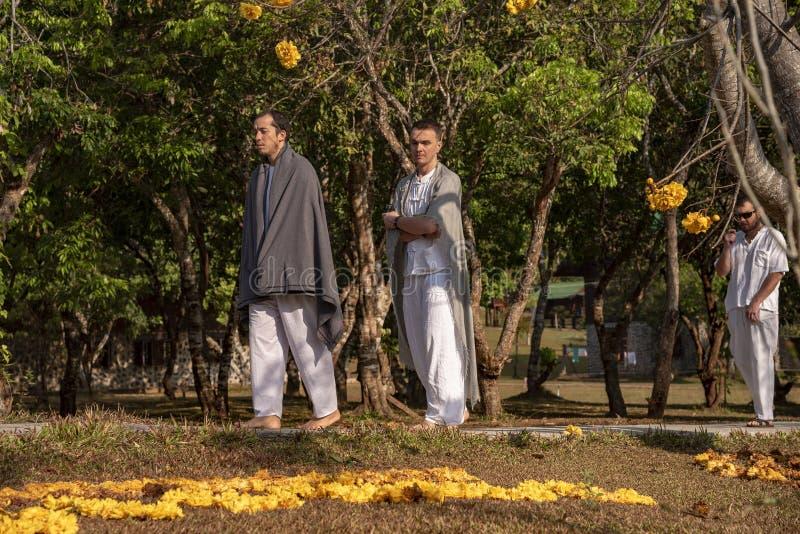 Vipassana i klostret Thailand Chiang Mai city royaltyfria bilder