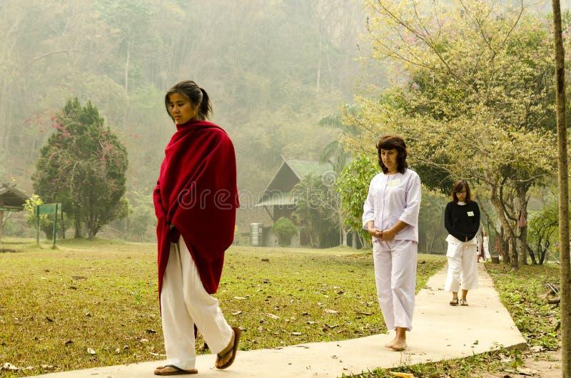 Vipassana w halnym monasterze blisko miasta Mechonson, północ Tajlandia zdjęcie stock