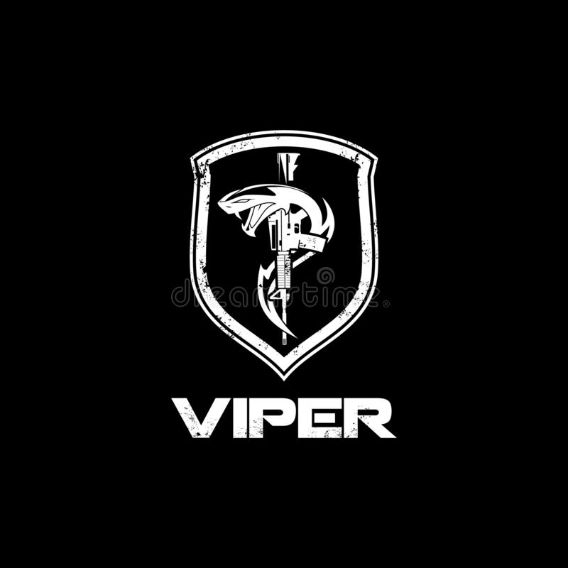 Viper snake with rifle and shield vector badge logo template royalty free illustration